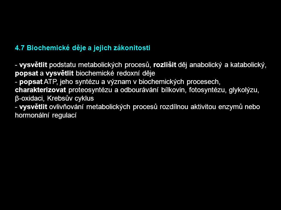 4.7 Biochemické děje a jejich zákonitosti - vysvětlit podstatu metabolických procesů, rozlišit děj anabolický a katabolický, popsat a vysvětlit bioche
