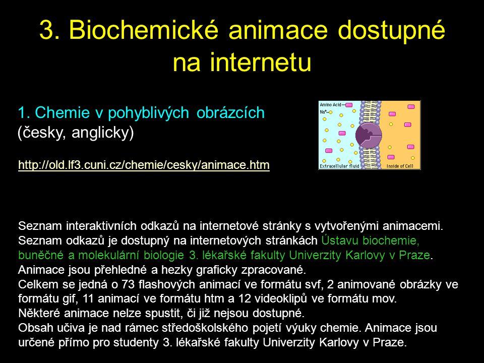 1. Chemie v pohyblivých obrázcích (česky, anglicky) http://old.lf3.cuni.cz/chemie/cesky/animace.htm Seznam interaktivních odkazů na internetové stránk