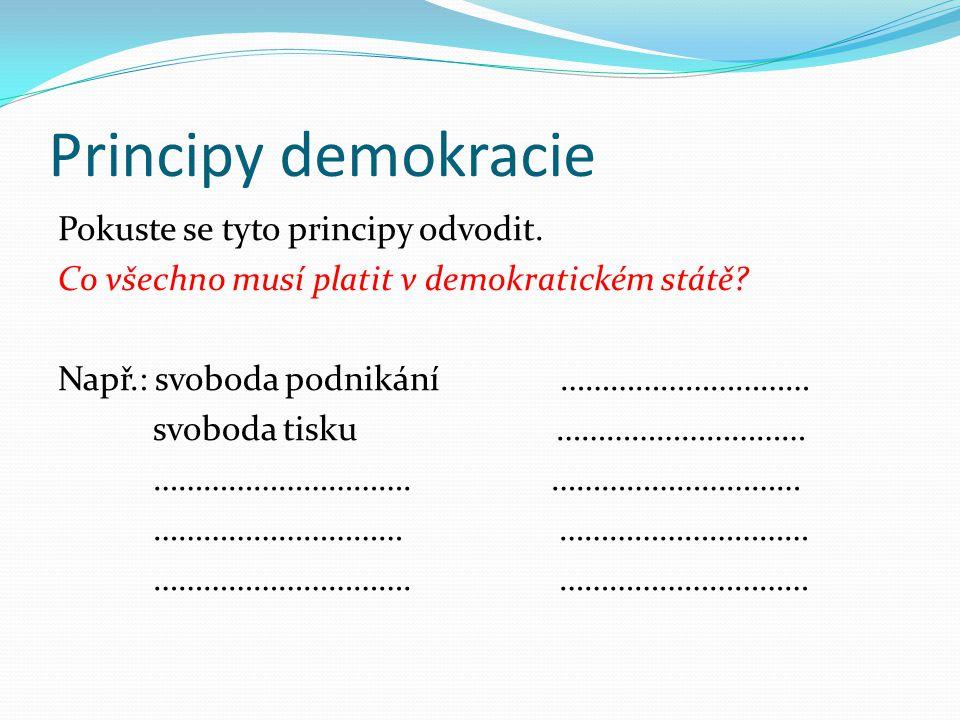 Principy demokracie Shrnutí Mezi zásadní principy demokracie patří: 1.