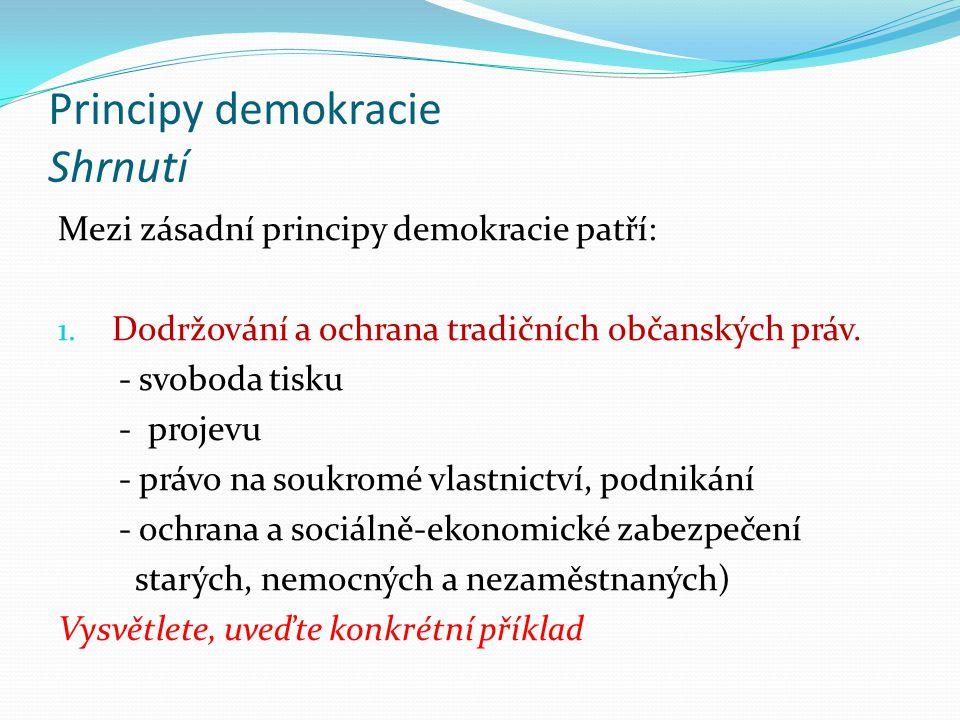 Principy demokracie Shrnutí 2.Suverenita občanů jako zdroje moci.