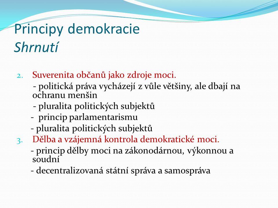 Principy demokracie Shrnutí 2. Suverenita občanů jako zdroje moci.