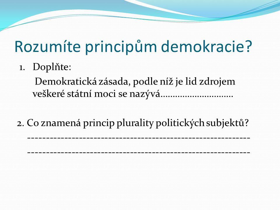Rozumíte principům demokracie. 1.