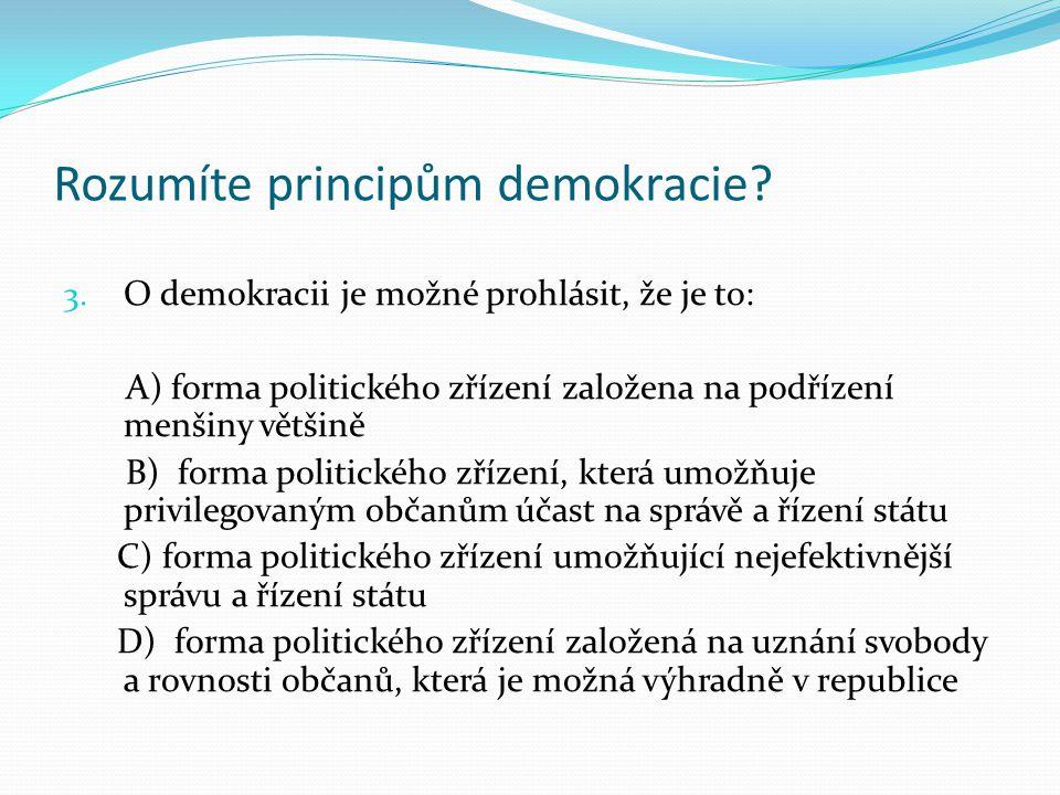 Rozumíte principům demokracie. 3.
