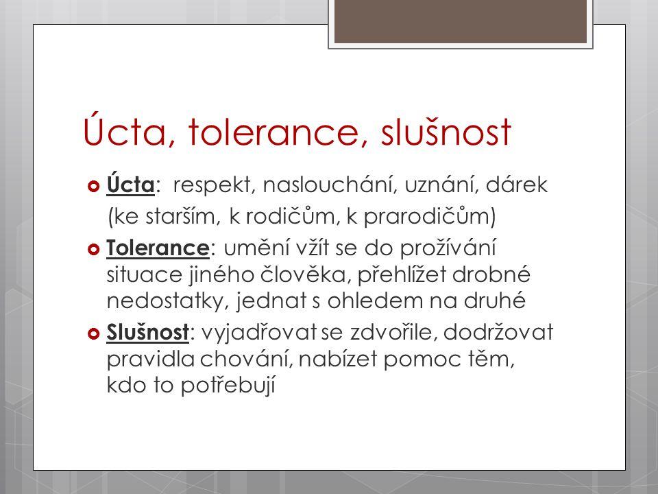  Úcta : respekt, naslouchání, uznání, dárek (ke starším, k rodičům, k prarodičům)  Tolerance : umění vžít se do prožívání situace jiného člověka, přehlížet drobné nedostatky, jednat s ohledem na druhé  Slušnost : vyjadřovat se zdvořile, dodržovat pravidla chování, nabízet pomoc těm, kdo to potřebují Úcta, tolerance, slušnost