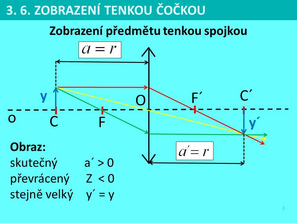 3 3. 6. ZOBRAZENÍ TENKOU ČOČKOU F F´ o O y y´ C C´ Zobrazení předmětu tenkou spojkou Obraz: skutečný a´ > 0 převrácený Z < 0 stejně velký y´ = y