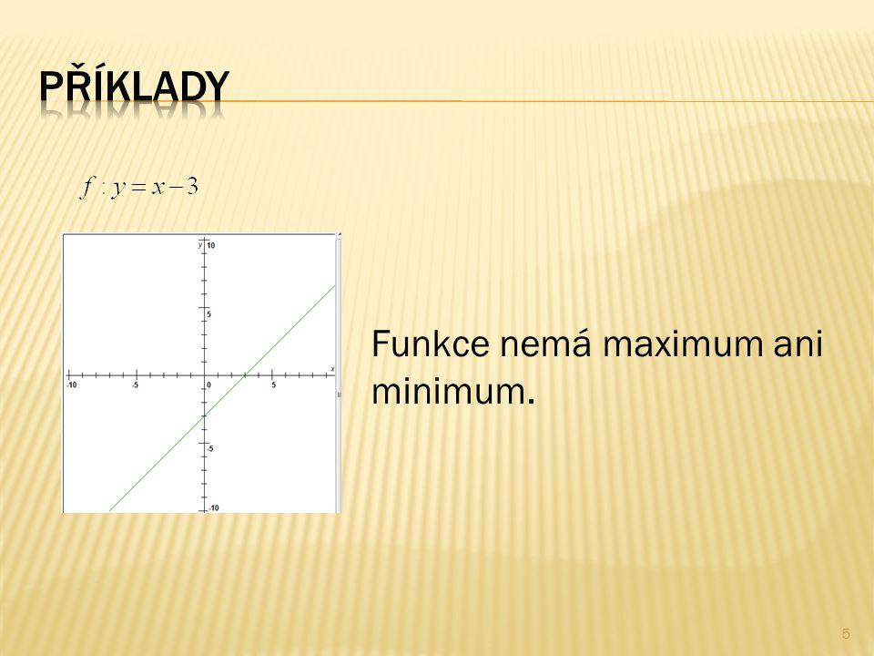 Funkce nemá maximum ani minimum. 5