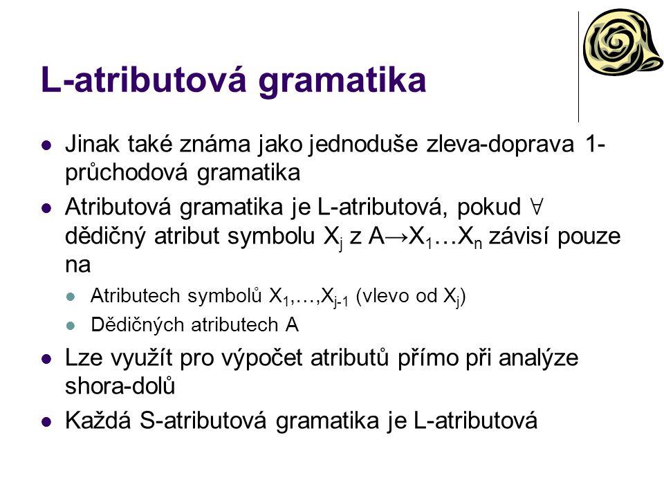 L-atributová gramatika Jinak také známa jako jednoduše zleva-doprava 1- průchodová gramatika Atributová gramatika je L-atributová, pokud ∀ dědičný atr