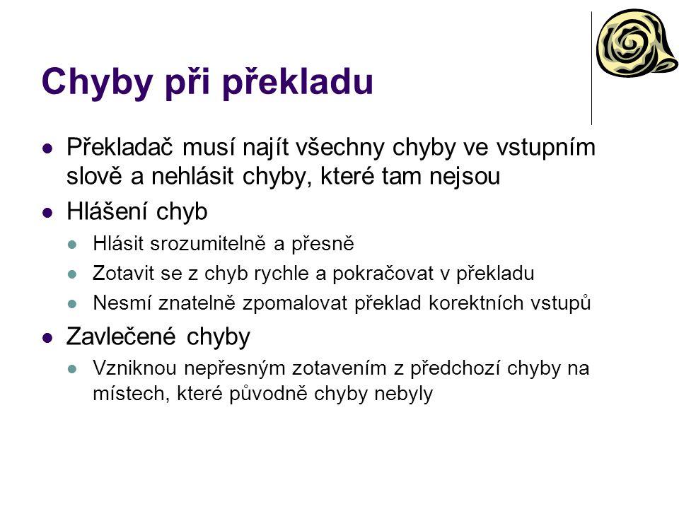 Chyby při překladu Překladač musí najít všechny chyby ve vstupním slově a nehlásit chyby, které tam nejsou Hlášení chyb Hlásit srozumitelně a přesně Z