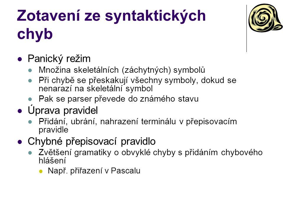 Zotavení ze syntaktických chyb Panický režim Množina skeletálních (záchytných) symbolů Při chybě se přeskakují všechny symboly, dokud se nenarazí na s