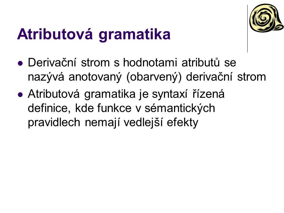 Atributová gramatika Derivační strom s hodnotami atributů se nazývá anotovaný (obarvený) derivační strom Atributová gramatika je syntaxí řízená defini