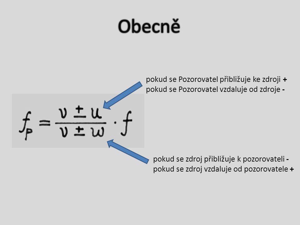 pokud se Pozorovatel přibližuje ke zdroji + pokud se Pozorovatel vzdaluje od zdroje - pokud se zdroj přibližuje k pozorovateli - pokud se zdroj vzdaluje od pozorovatele +