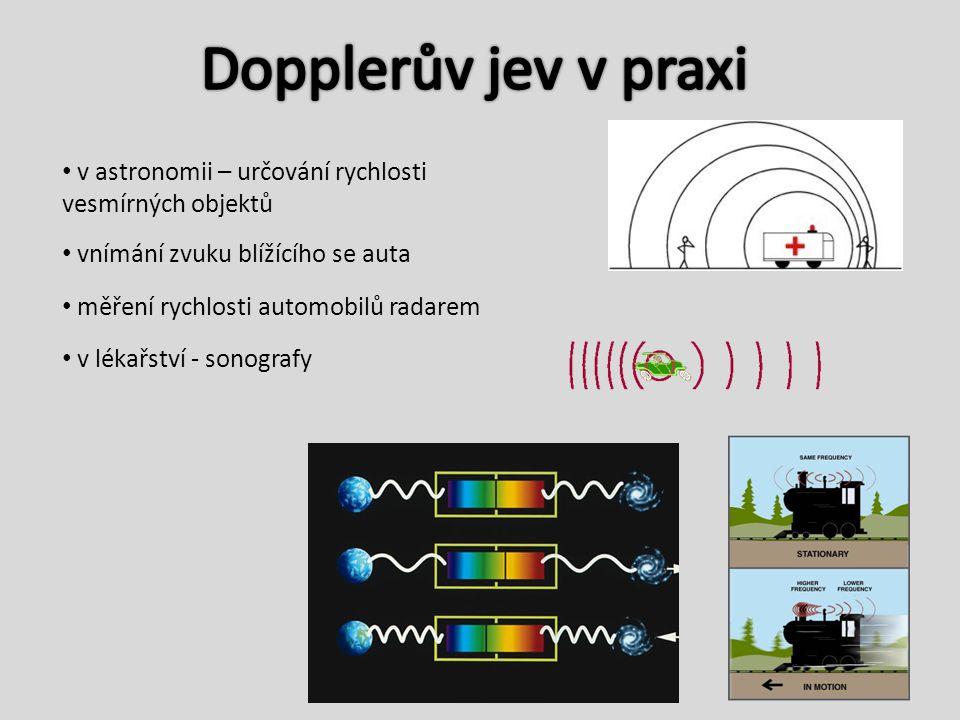 v astronomii – určování rychlosti vesmírných objektů měření rychlosti automobilů radarem v lékařství - sonografy vnímání zvuku blížícího se auta