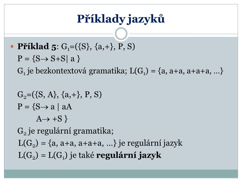 Příklady jazyků Příklad 5: G 1 =({S}, {a,+}, P, S) P = {S  S+S| a } G 1 je bezkontextová gramatika; L(G 1 ) = {a, a+a, a+a+a, …} G 2 =({S, A}, {a,+},