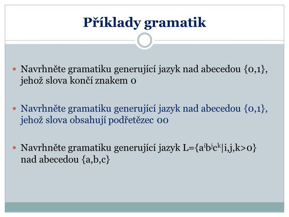 Příklady gramatik Navrhněte gramatiku generující jazyk nad abecedou {0,1}, jehož slova končí znakem 0 Navrhněte gramatiku generující jazyk nad abecedo