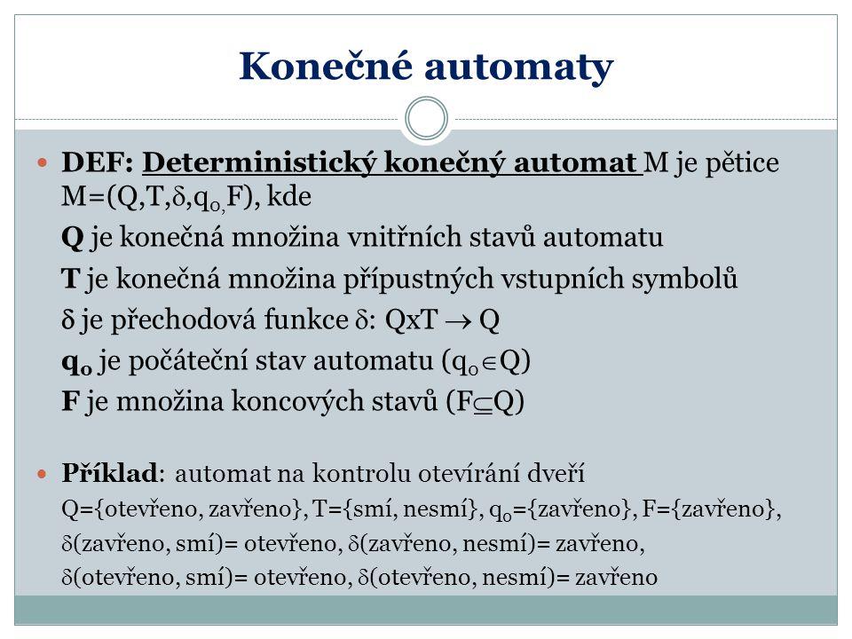 Konečné automaty DEF: Deterministický konečný automat M je pětice M=(Q,T, ,q 0, F), kde Q je konečná množina vnitřních stavů automatu T je konečná mn