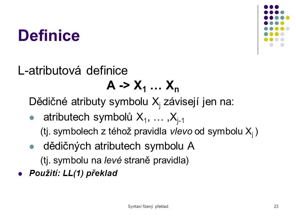 Syntaxí řízený překlad24 Překladové schéma Syntaxí řízená definice se sémantickými akcemi umístěnými kdekoliv na pravé straně pravidla Posloupnost sémantických akcí je přesně definována