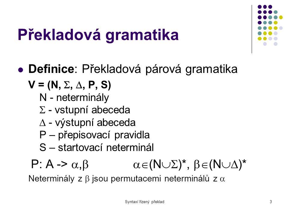 Syntaxí řízený překlad4 Příklad E -> E+T,ET+ E -> T,T T -> T*F,TF* T -> F,F F -> (E),E F -> i,i
