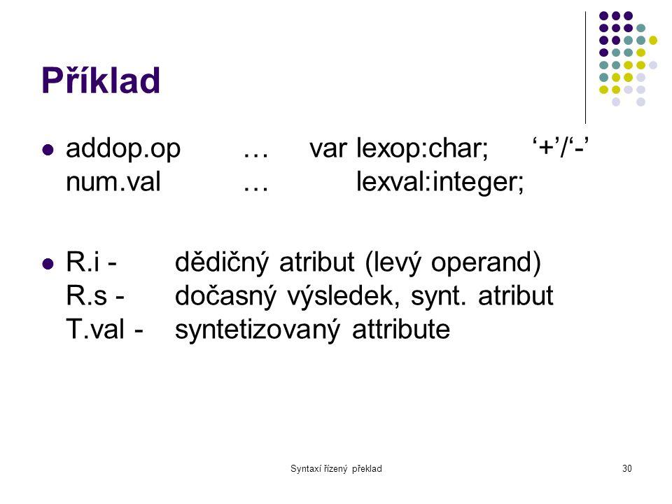 Syntaxí řízený překlad31 Příklad void E(int& val) { int val1; T(val1); R(val1, val); }