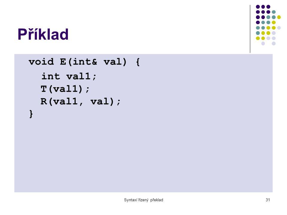 Syntaxí řízený překlad32 Příklad void R(int i, int& s) { if( sym == '+' || sym == '-' ) { char op=lexop; int val; T(val); if( op=='+' ) R(i+val,s) else R(i-val,s); } else s = i; }