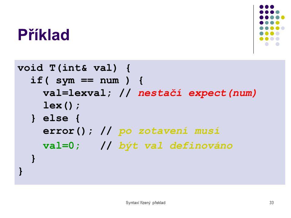 Syntaxí řízený překlad33 Příklad void T(int& val) { if( sym == num ) { val=lexval; // nestačí expect(num) lex(); } else { error(); // po zotavení musí val=0; // být val definováno } }