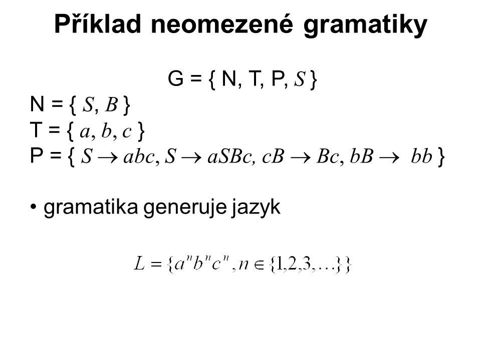 České vysoké učení technické v Praze Fakulta dopravní Příklad neomezené gramatiky G = { N, T, P, S } N = { S, B } T = { a, b, c } P = { S  abc, S  aSBc, cB  Bc, bB   bb } gramatika generuje jazyk