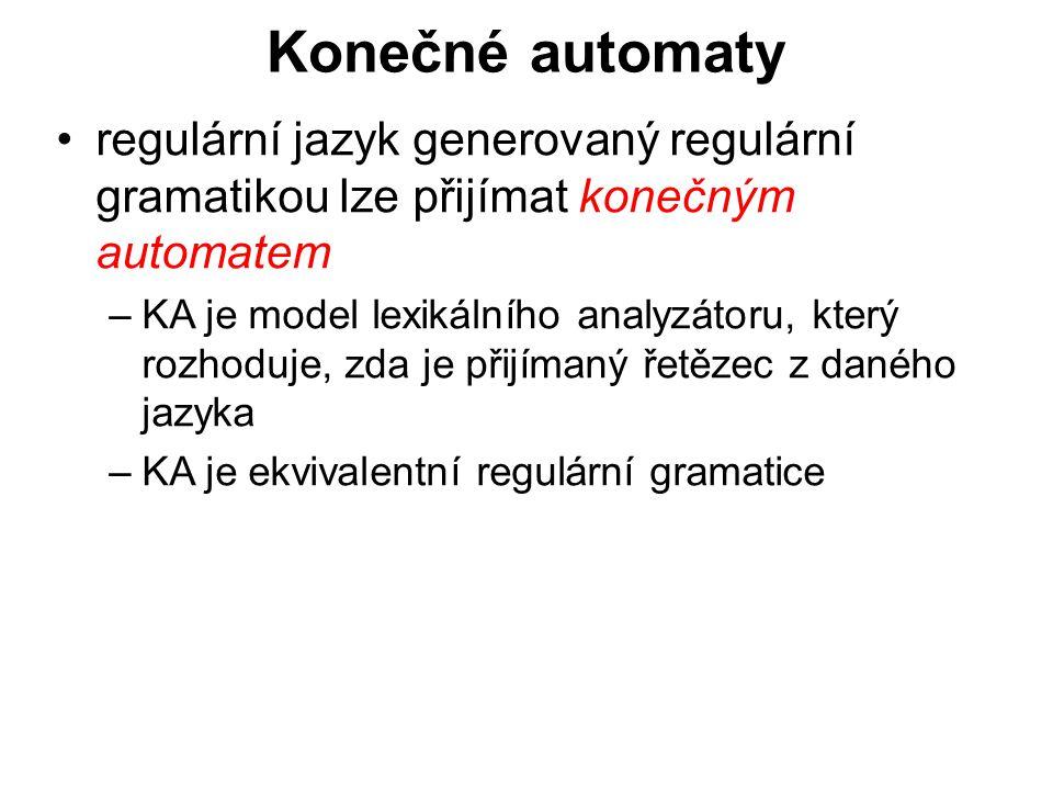 České vysoké učení technické v Praze Fakulta dopravní Konečné automaty regulární jazyk generovaný regulární gramatikou lze přijímat konečným automatem –KA je model lexikálního analyzátoru, který rozhoduje, zda je přijímaný řetězec z daného jazyka –KA je ekvivalentní regulární gramatice