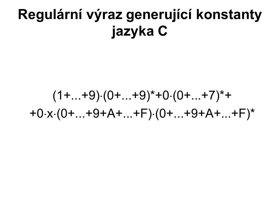 České vysoké učení technické v Praze Fakulta dopravní Regulární výraz generující konstanty jazyka C (1+...+9)  (0+...+9)*+0  (0+...+7)*+ +0  x  (0+...+9+A+...+F)  (0+...+9+A+...+F)*