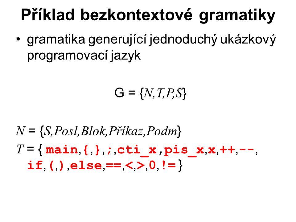 České vysoké učení technické v Praze Fakulta dopravní Příklad bezkontextové gramatiky gramatika generující jednoduchý ukázkový programovací jazyk G = { N,T,P,S } N = { S,Posl,Blok,Příkaz,Podm } T = { main, {, }, ;, cti_x,pis_x, x, ++, --, if, (, ), else, ==,, 0, != }
