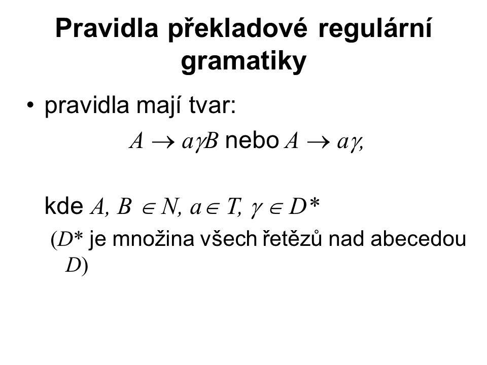 České vysoké učení technické v Praze Fakulta dopravní Pravidla překladové regulární gramatiky pravidla mají tvar: A  a  B nebo A  a , kde A, B  N, a  T,   D* (D* je množina všech řetězů nad abecedou D)