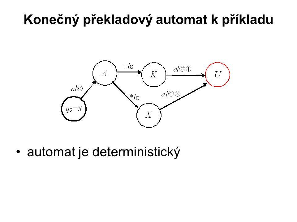 České vysoké učení technické v Praze Fakulta dopravní Konečný překladový automat k příkladu automat je deterministický