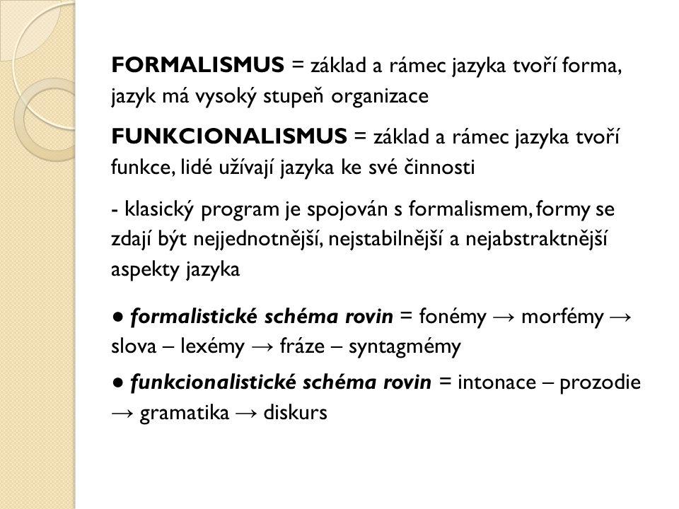 FORMALISMUS = základ a rámec jazyka tvoří forma, jazyk má vysoký stupeň organizace FUNKCIONALISMUS = základ a rámec jazyka tvoří funkce, lidé užívají