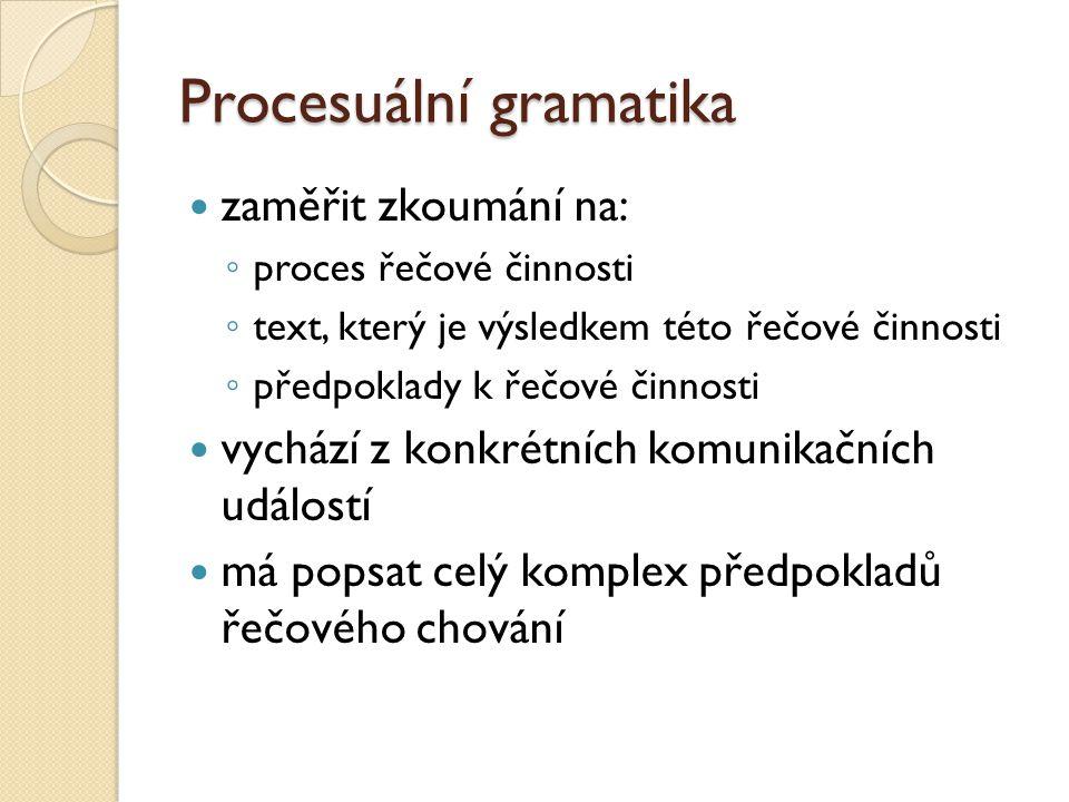 Procesuální gramatika zaměřit zkoumání na: ◦ proces řečové činnosti ◦ text, který je výsledkem této řečové činnosti ◦ předpoklady k řečové činnosti vy