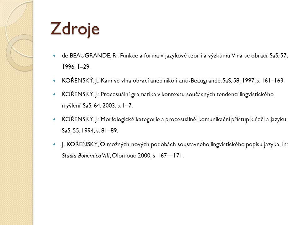 Zdroje de BEAUGRANDE, R.: Funkce a forma v jazykové teorii a výzkumu. Vlna se obrací. SaS, 57, 1996, 1–29. KOŘENSKÝ, J.: Kam se vlna obrací aneb nikol