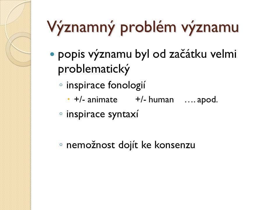 Významný problém významu popis významu byl od začátku velmi problematický ◦ inspirace fonologií  +/- animate +/- human …. apod. ◦ inspirace syntaxí ◦