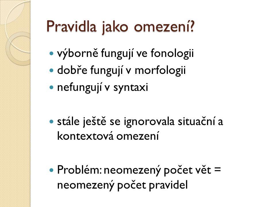 Pravidla jako omezení? výborně fungují ve fonologii dobře fungují v morfologii nefungují v syntaxi stále ještě se ignorovala situační a kontextová ome