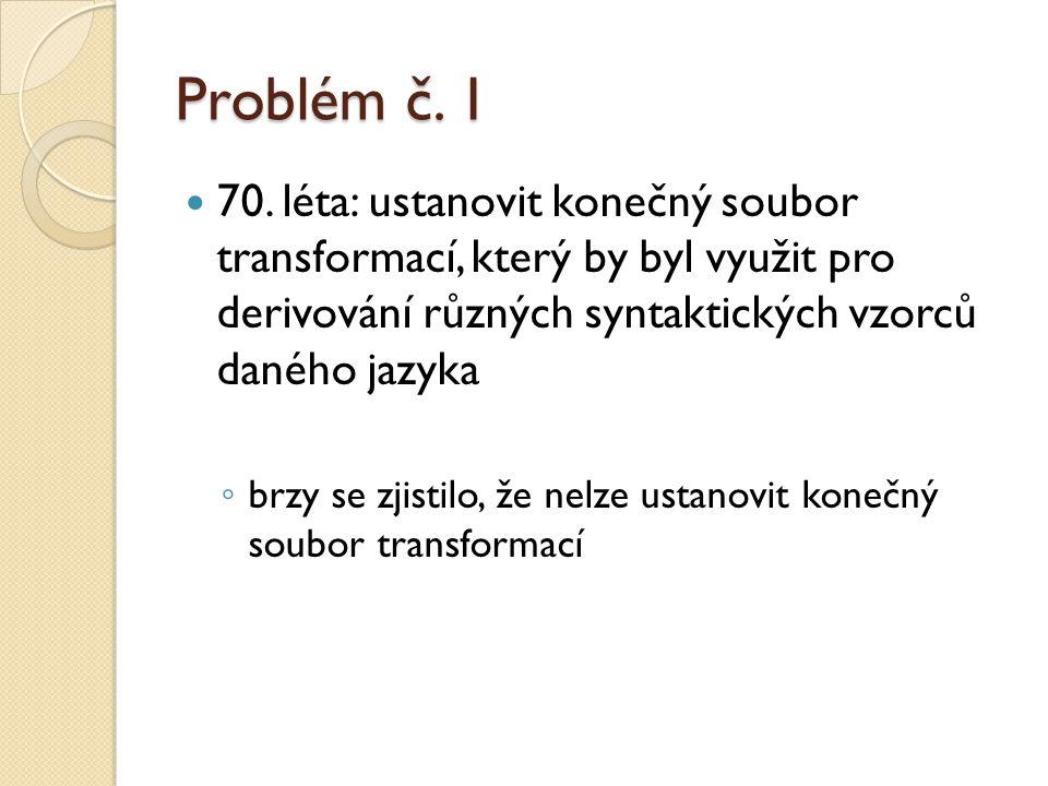 Problém č. 1 70. léta: ustanovit konečný soubor transformací, který by byl využit pro derivování různých syntaktických vzorců daného jazyka ◦ brzy se