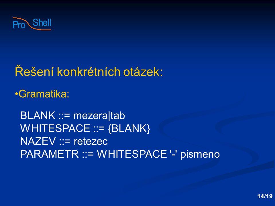 Řešení konkrétních otázek: Gramatika: BLANK ::= mezera|tab WHITESPACE ::= {BLANK} NAZEV ::= retezec PARAMETR ::= WHITESPACE - pismeno 14/19