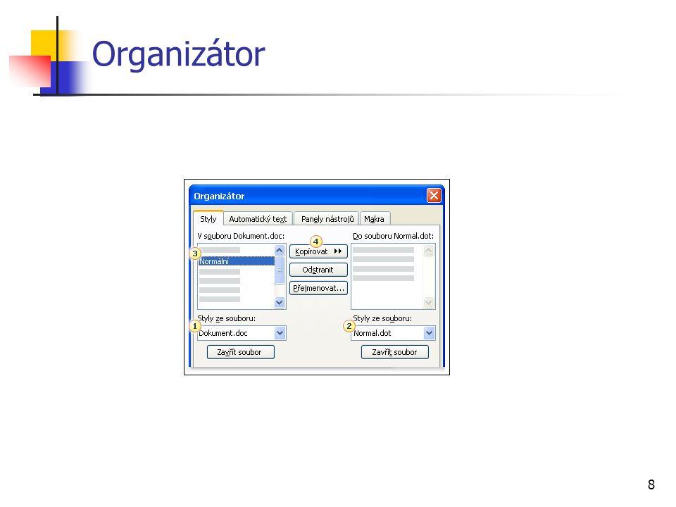 19 Záložky označení místa v textu vložení záložky označíme nazývanou část textu Vložit, Záložka název záložky nesmí obsahovat mezery zobrazení záložek Nástroje, Možnosti, Zobrazení, Záložky využití skok na záložku (Vložit, Záložka, Přejít na) cíl hypertextových odkazů (Vložit, Hypertextový odkaz, Místo v tomto dokumentu) křížový odkaz na záložku (Vložit, Odkaz, Křížový odkaz, Záložka)