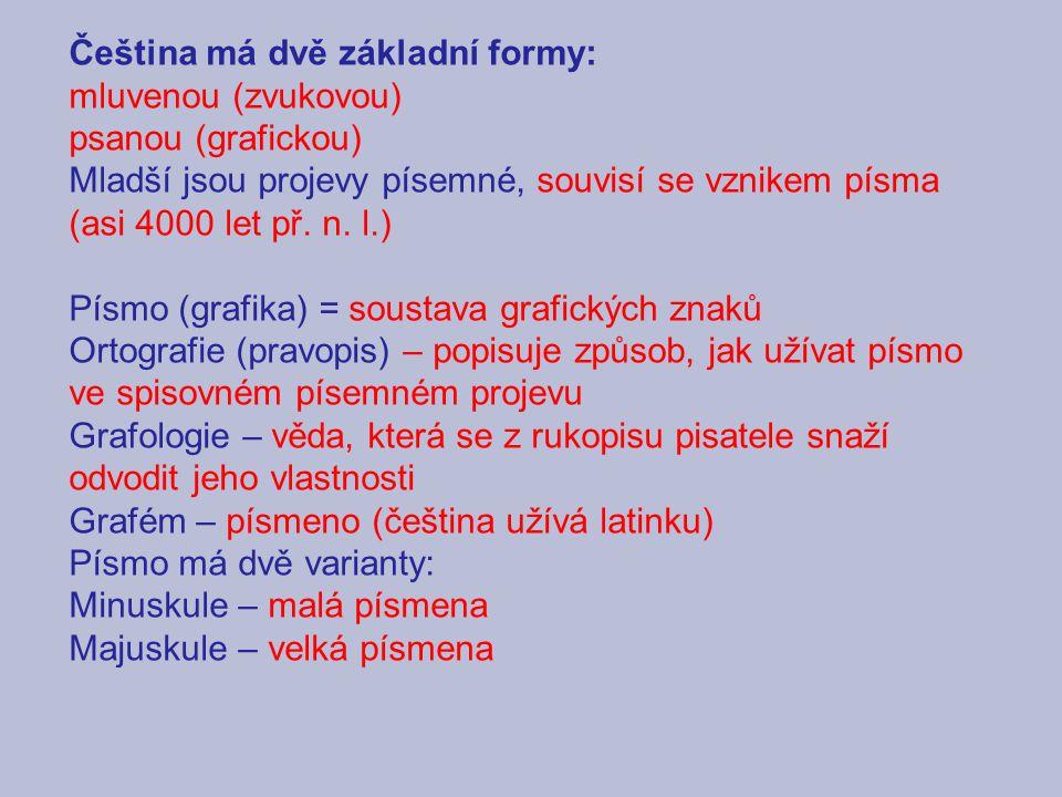 Čeština má dvě základní formy: mluvenou (zvukovou) psanou (grafickou) Mladší jsou projevy písemné, souvisí se vznikem písma (asi 4000 let př.