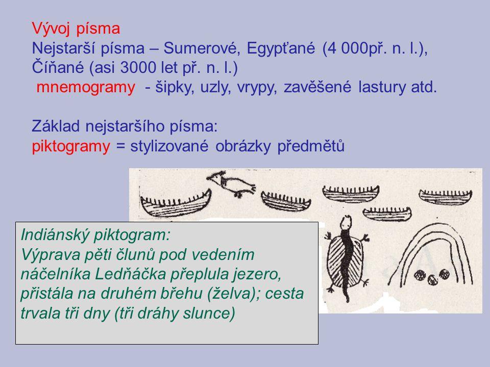 Vývoj písma Nejstarší písma – Sumerové, Egypťané (4 000př.
