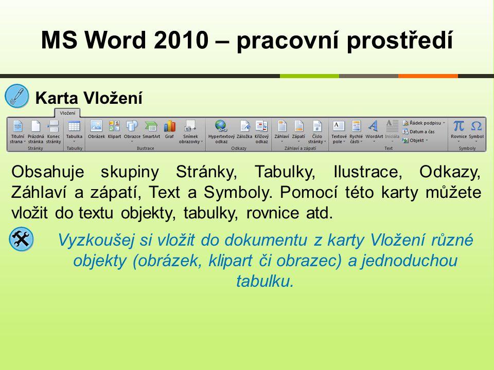 MS Word 2010 – pracovní prostředí Karta Vložení Obsahuje skupiny Stránky, Tabulky, Ilustrace, Odkazy, Záhlaví a zápatí, Text a Symboly.