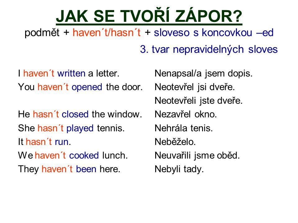 JAK SE TVOŘÍ ZÁPOR.podmět + haven´t/hasn´t + sloveso s koncovkou –ed 3.
