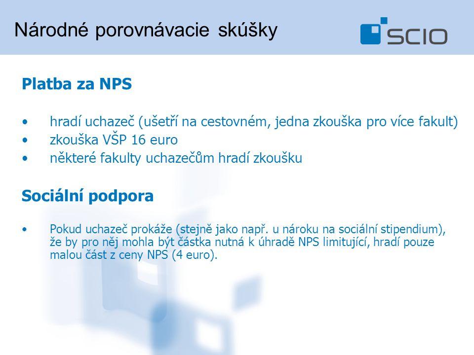 Platba za NPS hradí uchazeč (ušetří na cestovném, jedna zkouška pro více fakult) zkouška VŠP 16 euro některé fakulty uchazečům hradí zkoušku Sociální podpora Pokud uchazeč prokáže (stejně jako např.