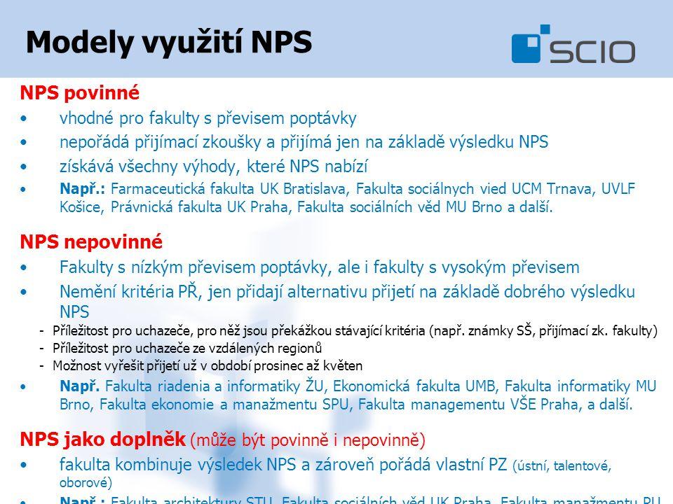 Modely využití NPS NPS povinné vhodné pro fakulty s převisem poptávky nepořádá přijímací zkoušky a přijímá jen na základě výsledku NPS získává všechny výhody, které NPS nabízí Např.: Farmaceutická fakulta UK Bratislava, Fakulta sociálnych vied UCM Trnava, UVLF Košice, Právnická fakulta UK Praha, Fakulta sociálních věd MU Brno a další.