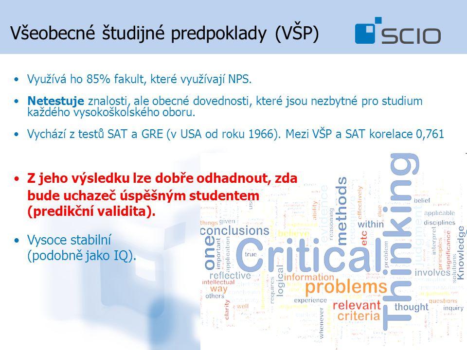 Všeobecné študijné predpoklady (VŠP) Využívá ho 85% fakult, které využívají NPS.