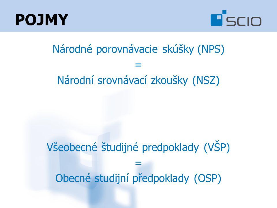 POJMY Národné porovnávacie skúšky (NPS) = Národní srovnávací zkoušky (NSZ) Všeobecné študijné predpoklady (VŠP) = Obecné studijní předpoklady (OSP)