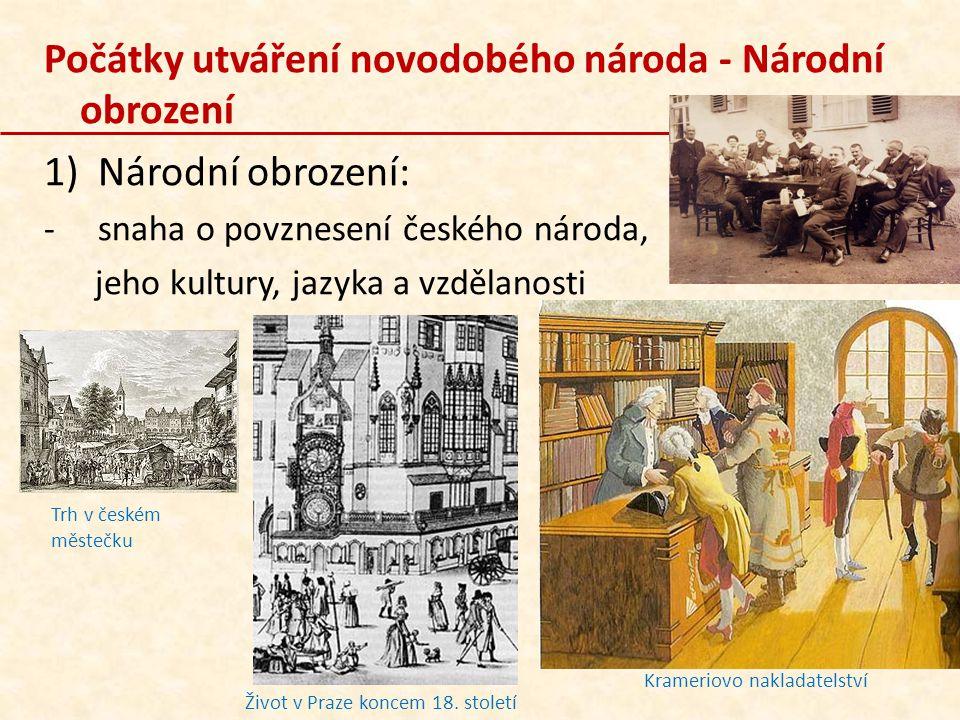 Počátky utváření novodobého národa - Národní obrození 1)Národní obrození: -snaha o povznesení českého národa, jeho kultury, jazyka a vzdělanosti Život
