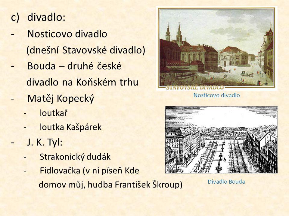c)divadlo: -Nosticovo divadlo (dnešní Stavovské divadlo) -Bouda – druhé české divadlo na Koňském trhu -Matěj Kopecký -loutkař -loutka Kašpárek -J. K.