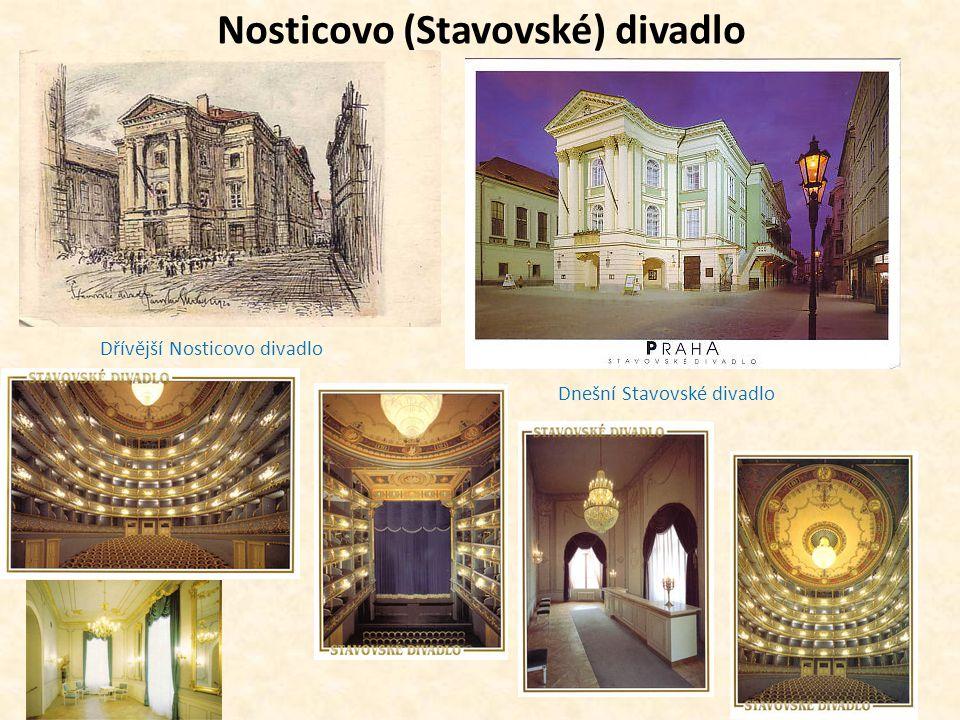 Nosticovo (Stavovské) divadlo Dřívější Nosticovo divadlo Dnešní Stavovské divadlo