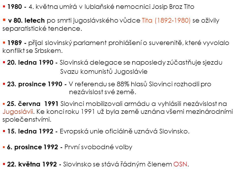 1991  25.června 1991 Slovinci mobilizovali armádu a vyhlásili nezávislost na Jugoslávii.